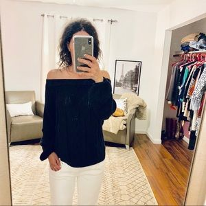 Soho Navy Cable Knit Off Shoulder Sweater Small